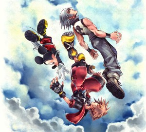 Kingdom Hearts Game Cover with main characters. Mickey comes from Disney and the main character's concept and design is Square Enix in origin.