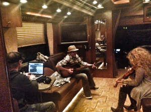 The Band Perry doing some recording before the show. So much can be done in a little bus.