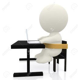 11264882-3D-Business-man-tied-to-a-chair-and-forced-to-work-on-his-laptop-Stock-Photo